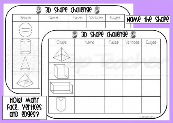 Extras MRS cAMPBELLS CORNER – 3d Shape Worksheets